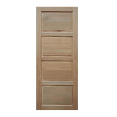 BEST  ประตูไม้สยาแดง บานทึบ 4ฟัก ขนาด  80x200ซม. GS-50