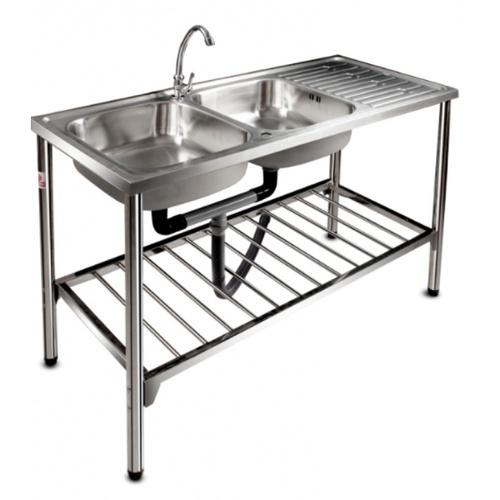 ADVANCE อ่างล้างจานพร้อมขาตั้ง 2 หลุมมีที่พัก ขนาด 120x50X16 ซม. PNK1200
