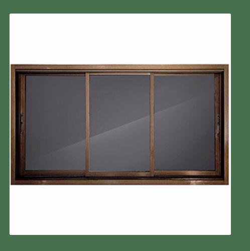 -  หน้าต่างอะลูมิเนียมบานเลื่อน  SFS  ขนาด 200x108ซม. สีชา ไม่มีมุ้ง