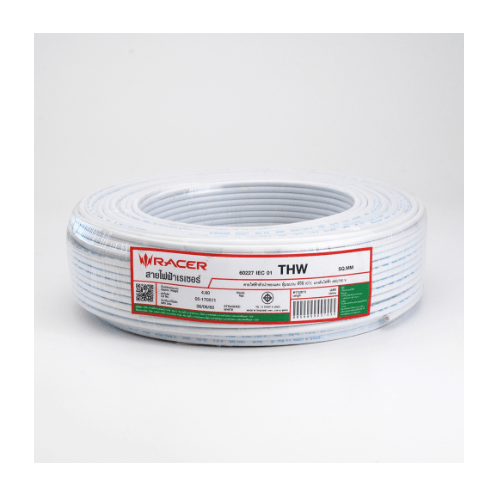 RACER สายไฟ IEC01 THW 1x6 100ม.ขาว สายไฟ IEC01 THW 1x6 100M.ขาว สีขาว