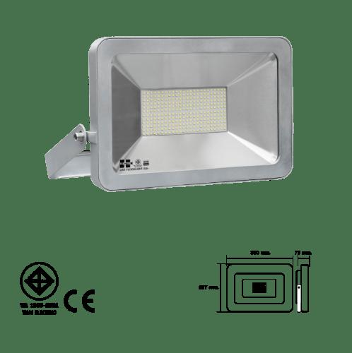 HI-TEK โคมฟลัดไลท์แอลอีดี  แบบบาง 200W แสงขาว