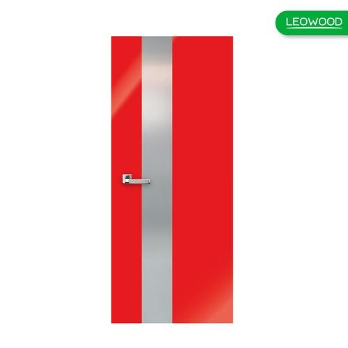 LEOWOOD ประตู iDoor Modish Metal Line เส้นใหญ่/สีเงิน1 เส้น สี Ruby Red  ขนาด 35x800x2000มม.