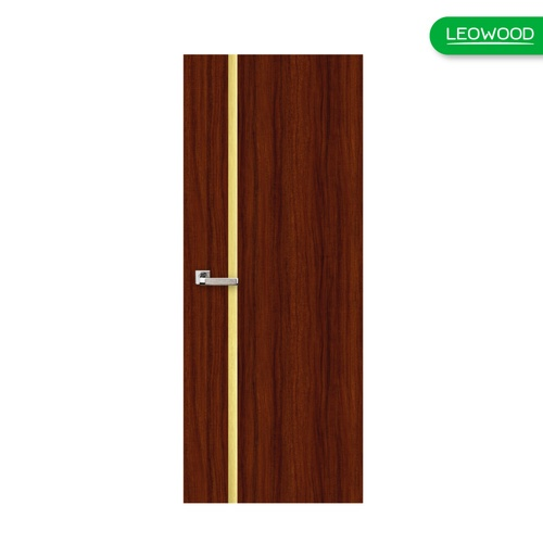 LEOWOOD  ประตูปิดผิวเมลามีน เส้นกลาง/สีทอง 80x200ซม. Mahogany  iDoor Premium Metal Line