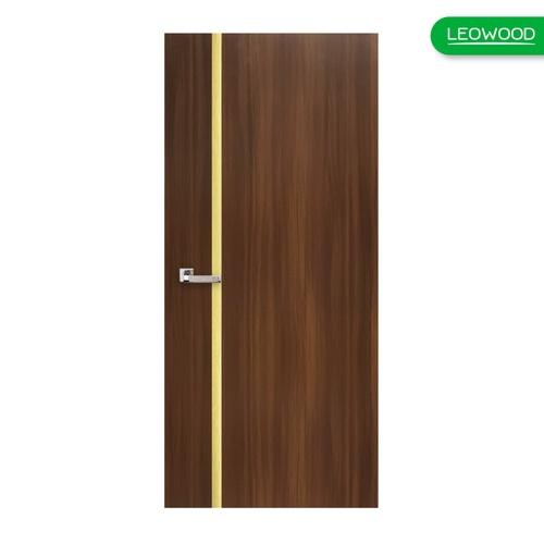 LEOWOOD ประตูปิดผิวเมลามีน iDoor Premium Metal Line ขนาด 90x200ซม. WALNUT IPM749