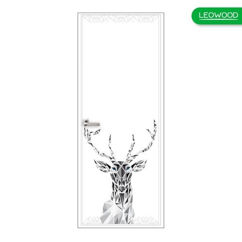 LEOWOOD ประตูพิมพ์ลาย 18 สี Pearl white ขนาด 35x800x2000มม.  iDoor Premium Dsign สีขาว
