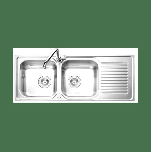 MEX อ่างล้างจาน 2 หลุมมีที่พัก DLA202