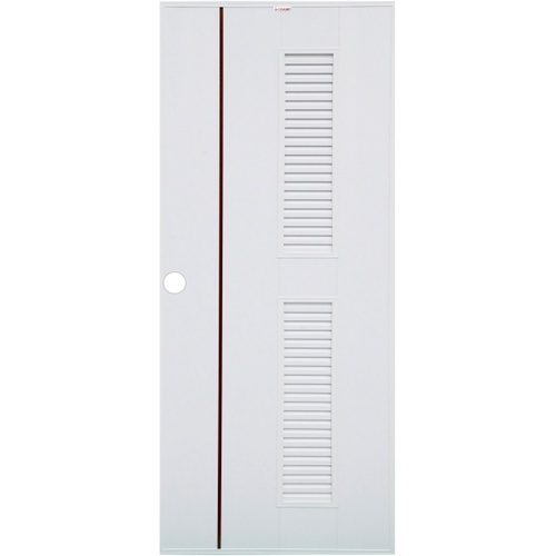 CHAMP ประตู UPVC เกล็ดข้างตลอด เซาะร่องน้ำตาล ขนาด70cm.x180cm. เจาะ  Idea7  สีขาว