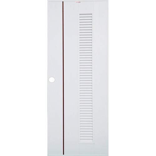 CHAMP ประตู UPVC  เกล็ดตลอดเซาะร่องโอ๊คแดง ขนาด70cm.x200cm. (เจาะ)  Idea-6 สีขาว