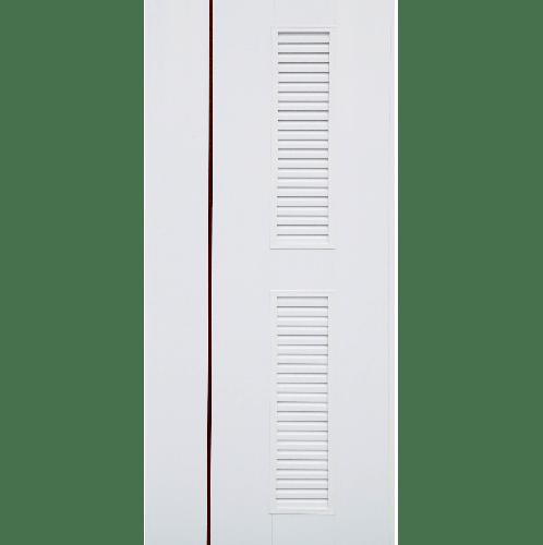 CHAMP ประตูยูพีวีซี เกล็ดครึ่งบานเซาะร่องสีน้ำตาล 59x175cm.  idea-7 สีขาว