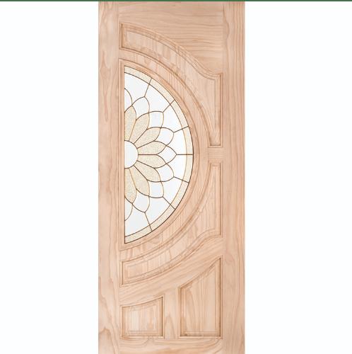WINDOOR ประตู+กระจก สนนิวซีแลนด์ ขนาด  80x200ซม. SUN FLOWER สีเหลือง
