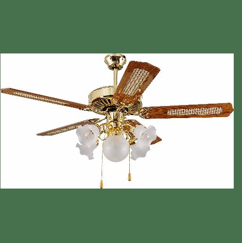 -  พัดลมโคมไฟ F552-5L-PB สีทอง