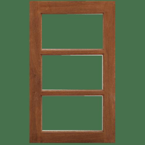 MAZTERDOOR หน้าต่างไม้สยาแดง ขนาด 50x100ซม. WD-05(3ช่องไม่ใส่กระจก)