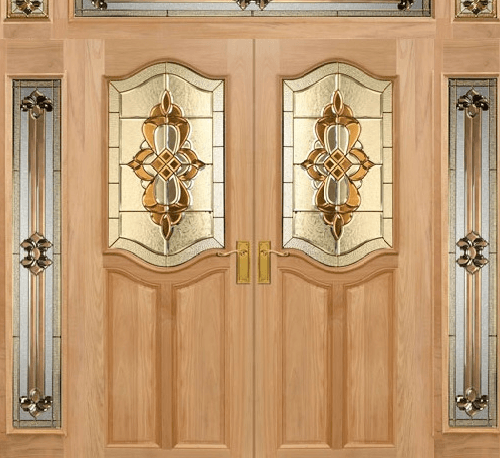 MAZTERDOOR ชุดประตูไม้สยาแดง ขนาด 240x245ซม. SET 4 GENUE-02 ไม้ธรรมชาติ