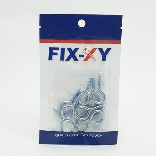 FIX-XY ตะขอห่วงกลม เบอร์8  (10ชิ้น/แพ็ค)  EK-007-S สีโครเมี่ยม