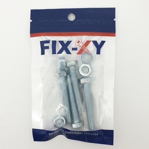 FIX-XY สกรูเกลียวมิล5/16x2 ( 4 ชิ้น/แพ็ค ) EF-007 สีโครเมี่ยม