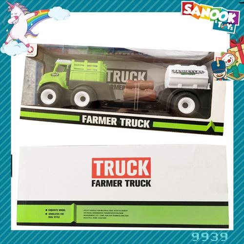 Sanook&Toys ของเล่นรถการเกษตร (ที่ขนของ,ท่อนไม้,ถังน้ำมัน)  #9939 (41x12x17ซม.) สีเขียว