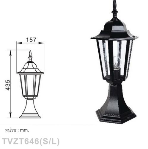 V.E.G โคมไฟหัวเสา ทรงคลาสสิค สูง 435mm TVZT646 สีดำ
