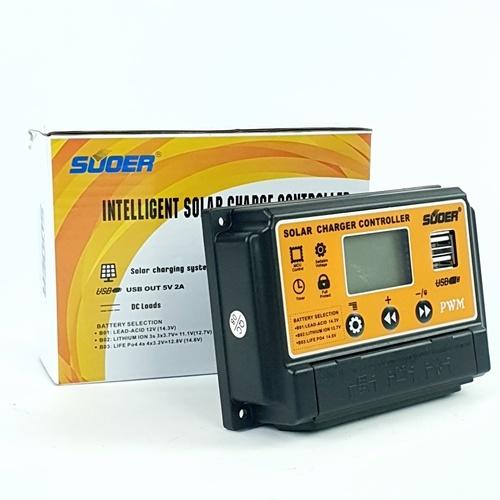 SUOER คอนโทรลชาร์จโซล่าเซลล์ PWM จอแสดงผล LCD 10A ST-S1210 สีเหลือง