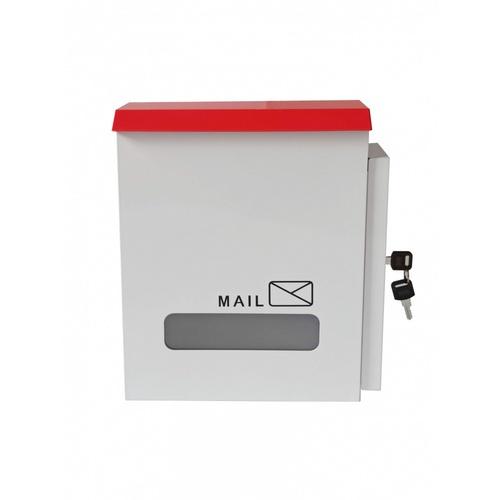 PROTX ตู้จดหมายเหล็ก พร้อมกุญแจ ขนาด 25x30x10ซม. HF301 สีขาว-แดง