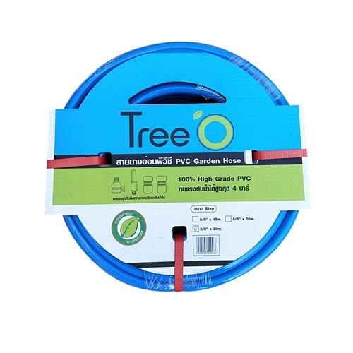 Tree O สายยางพีวีซี พร้อมข้อต่อสวมเร็ว ขนาด 5/8นิ้ว x30เมตร 58-30CON สีน้ำเงิน