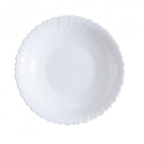 ADAMAS จานก้นลึกโอปอลขอบริ้ว ขนาด 9.5 นิ้ว HBSP95 สีขาว