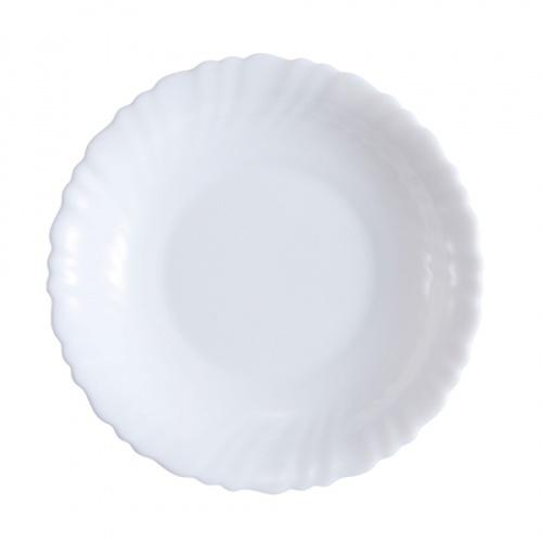 ADAMAS จานก้นลึกโอปอลขอบริ้ว ขนาด 7.5 นิ้ว HBSP75 สีขาว