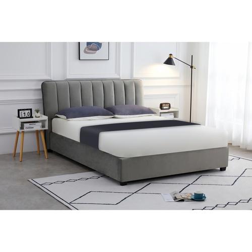 Pulito เตียง ขนาด 6 ฟุต นามิเอล ผ้ากำมะหยี่  สีเทา