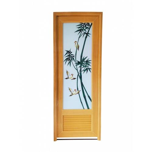Wellingtan ประตูพีวีซี พิมพ์ลายต้นไผ่ ขนาด 70x200cm. สีไม้สัก  INKJT-001