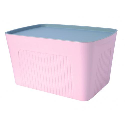 SAKU  กล่องเก็บของพลาสติกมีฝา 28ลิตร ขนาด 45.5x31x24.5ซม.สีชมพู ฝาเทา TG51283