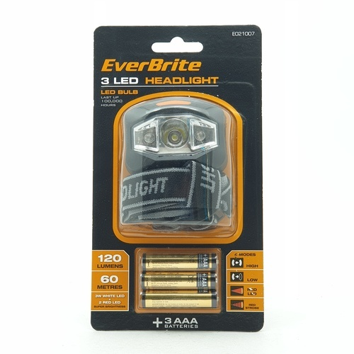 EVERBRITE ไฟฉายแบบคาดศรีษะ E021007  สีดำ