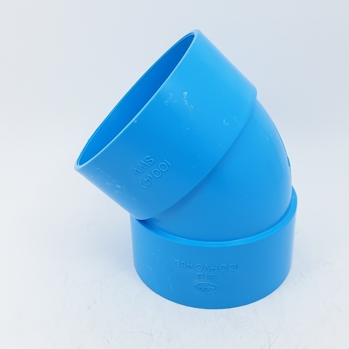 AAA ข้องอ 45 แบบบาง 4นิ้ว (100)  ชั้น 8.5  สีฟ้า