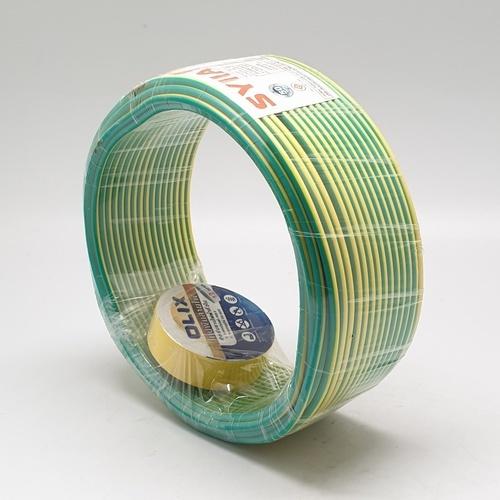 SYLLA สายไฟ 60227 IEC01  THW 1x2.5 Sq.mm.30m. สีเขียวแถบเหลือง