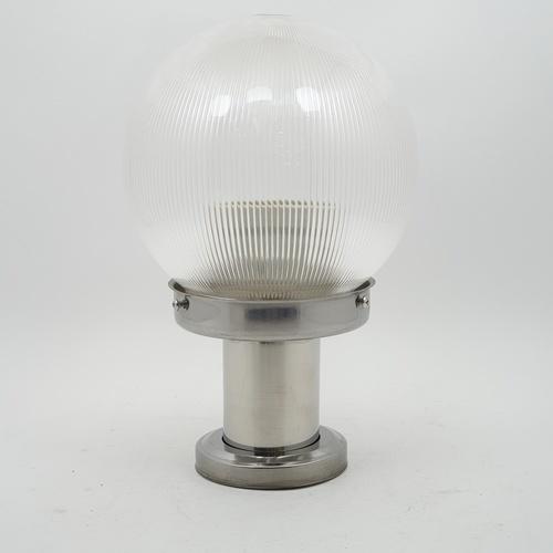 V.E.G โคมไฟหัวเสาฐานสแตนเลส  1035A-W แก้วลาย 6 นิ้ว