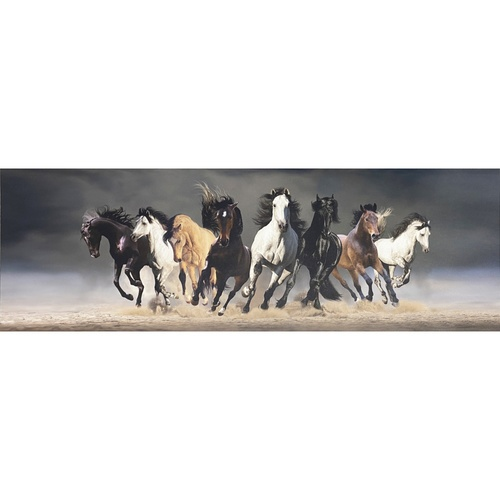 NICE รูปภาพพิมพ์ผ้าใบ ขนาด 40x120 ซม. กลุ่มม้าวิ่ง Fengshui C12040-2