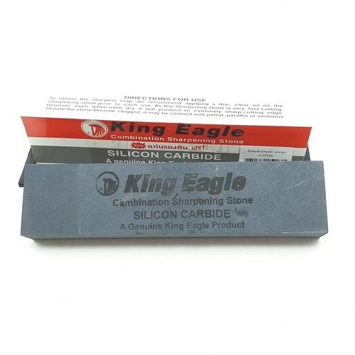 King Eagle หินลับมีดก้อนใหญ่ พร้อมยางรองขนาด 8 นิ้ว - เทา