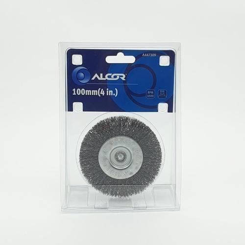 """ALCOR แปรงลวดเหล็กกลมมีแกน 100MM. (4"""") A447309 สีโครเมี่ยม"""