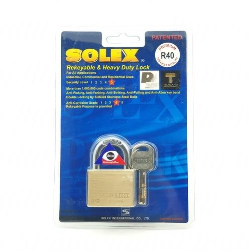 SOLEX กุญแจคล้อง EXTRA-NEWPLUSขนาด 40MM. สีทอง