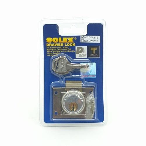 SOLEX กุญแจลิ้นชัก DW2นิ้วS(แผง) สีทอง