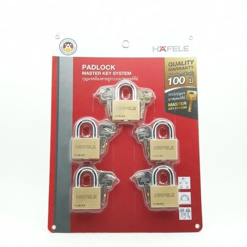 HAFELE กุญแจล็อคมาสเตอร์คีย์  (5ตัว/แพ็ค) 45 มม. ทองเหลือง