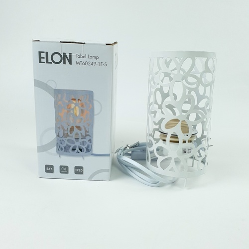 ELON โคมไฟตั้งโต๊ะ Classic MT60249-1F-S**แถมฟรี  8859548102873 หลอดปิงปองสีฟ้า 1.5 W BL-G45-Y001 ELON** สีขาว