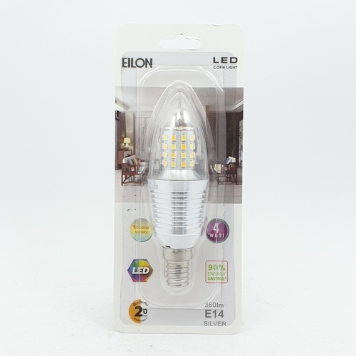 EILON หลอดไฟ LED 4W ปรับได้ 3 แสง ขั้ว E14 Silver  ทรงจำปา สีขาว