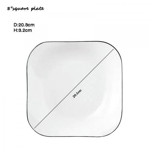 ADAMAS จานเซรามิคทรงเหลี่ยม ขนาด 8 นิ้ว ANTONIO