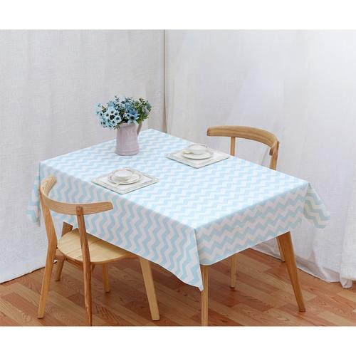 Nibiru ผ้าปูโต๊ะ PEVA 137x152ซม. ลายหยักสีฟ้าขาว HONY01 คละสี