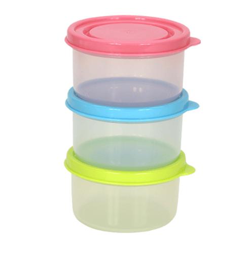 GOME  ชุดกล่องอาหารพลาสติกทรงกลม 160ML. 3 ชิ้น/แพ็ค ขนาด 8.5x8.5x5 ซม.  ZS3013