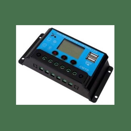 - อุปกรณ์ควบคุมการชาร์จแผงโซล่าร์ PWM 12V/24V-10A สีฟ้าเข้ม