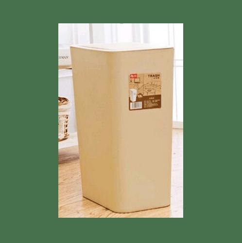 ICLEAN ถังขยะทรงเหลี่ยมฝากด  ขนาด 12L สีกากี ZXHL004-KK