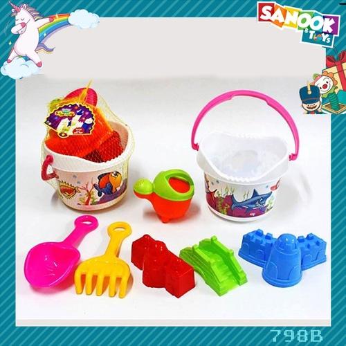 Sanook&Toys ชุดของเล่นชายหาด-ถังน้ำ #798B (17.5x17.5x22 ซม.) คละสี
