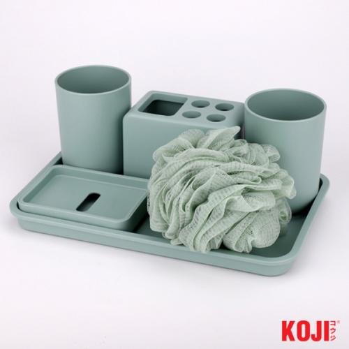 KOJI ชุดของใช้ในห้องน้ำ ขนาด 17.2x27.8x2 cm.  2JLS043-GN  สีเขียว