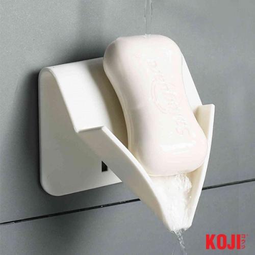 KOJI ถาดวางสบู่ 1 ก้อน ติดผนัง ขนาด 9x9.5x9.5 cm. 2CQS007  สีขาว