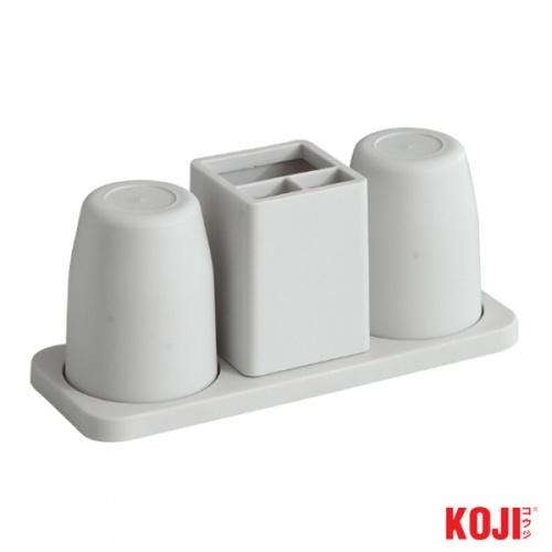 KOJI  ชุดแก้วใส่แปรงสีฟัน  ขนาด 12x27x10 cm.  2SJX052-GY สีเทา